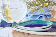 Cavala Small Fish Shaped Platter- stack of platters