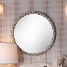 Audrey Beaded Mirror in White Wood wall image