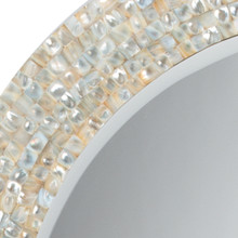 Sea Chic Oval Mirror in Mother of Pearl frame close up