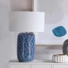 Waves of Blue Table Lamp room view