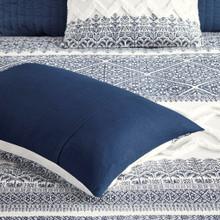 Malibu Boho Navy and White Printed Duvet Set - shams detail