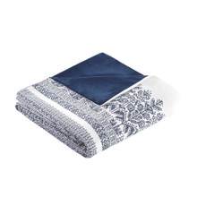Malibu Boho Navy and White Printed Duvet Set - folded duvet