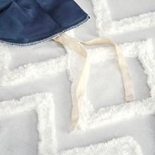 Malibu Boho Navy and White Printed Duvet Set - close up tufted chenille