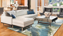 Turquoise Abstract Watercolors Rug  room image