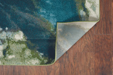 Turquoise Abstract Watercolors Rug corner backing