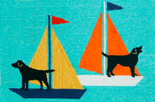 Sailing Puppy Dogs Accent Rug