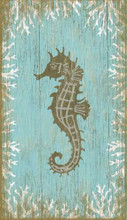Aqua Seahorse Wall Art - Facing Left