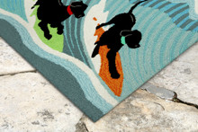 Surfing Puppy Dogs Accent Rug close up image
