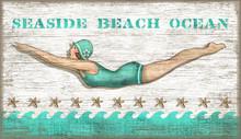 Aqua Vintage Diving Girl Wall Art