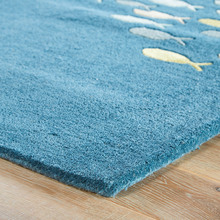 Captain's Blue Go Fish Wool Area Rug -corner