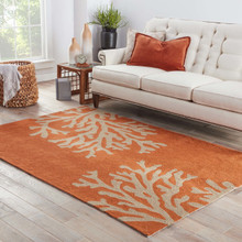 Coral Orange Branch Out Area Rug room view
