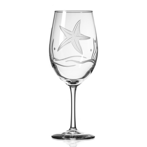 Starfish Etched Wine Goblets single image