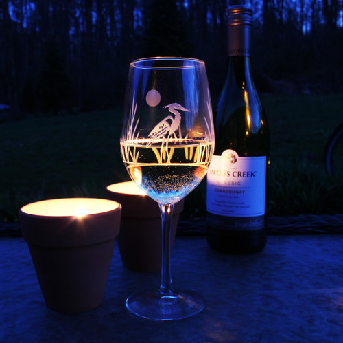 Heron Etched Wine Glasses- Set of 4 beauty view