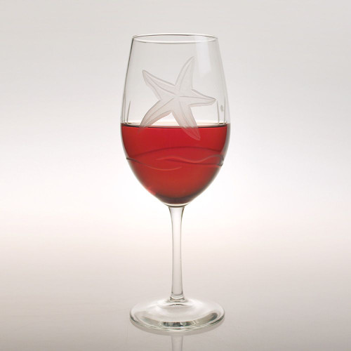 Starfish Etched Large Wine Goblets - Set of 4 beauty image