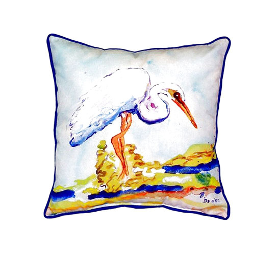 Betsy's Egret Beach Cottage Pillow