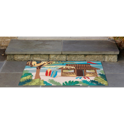 Aloha Tiki Hut Accent Rug front porch view