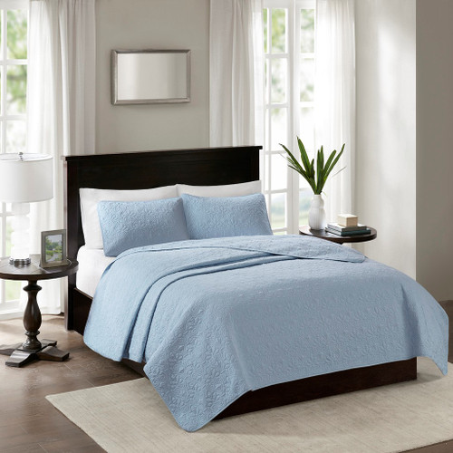 Hudson Bay Blue Quilted Coverlet Queen Size Set bedroom