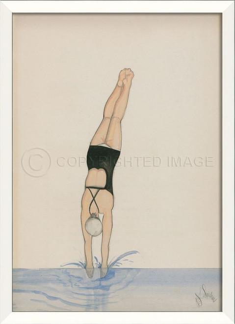 Diver In Black Swimsuit Framed Wall Art