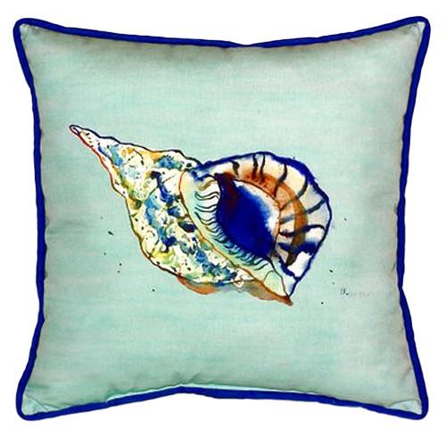 Teal Trumpet Sea Shell Coastal Pillow