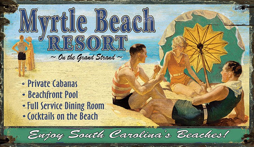 Vintage Beach Resort Poster Custom Sign