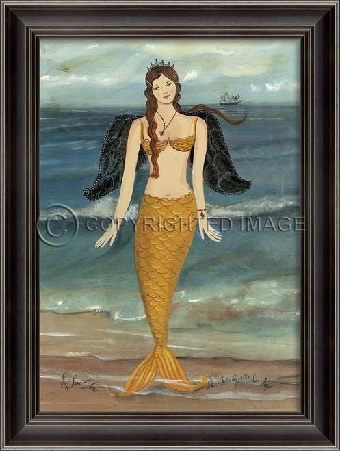 Golden Mermaid Angel Art Black Frame