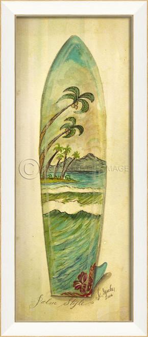 Palm Style Surfboard Art - white frame