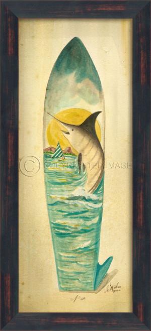 Large Marlin Surfboard Art - black frame