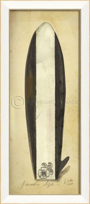 Striped Paradise Surfboard Art - white frame