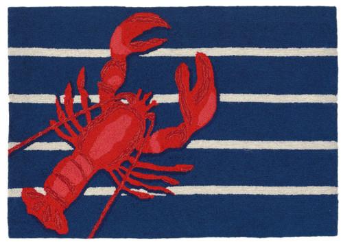 Lobster on Stripes Area Rug