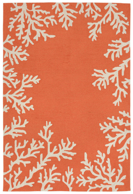 Coral Bordered Orange-Coral Area Rug