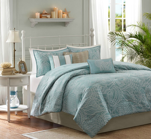 Carmel by the Sea Blue Comforter Set - Queen Size view 2