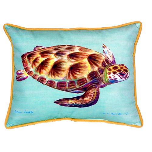 Teal Sea Turtle Indoor-Outdoor Pillow