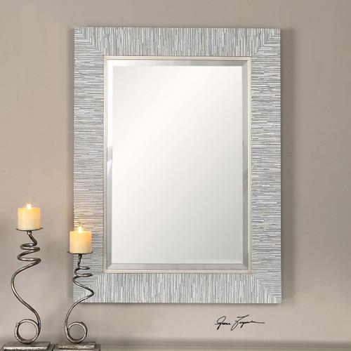 Belaya Gray-Blue Wood Mirror room view 1