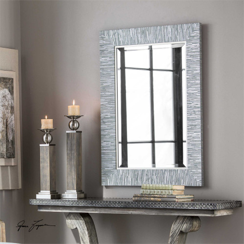 Belaya Gray-Blue Wood Mirror