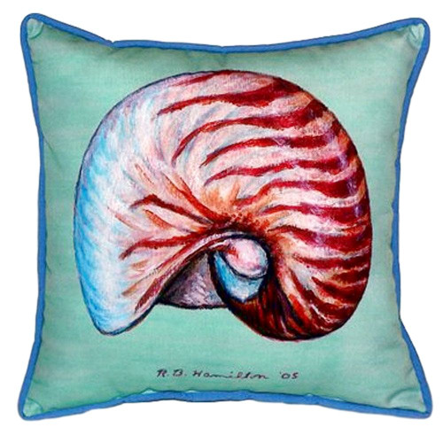 Teal Nautilus Shell Indoor-Outdoor Pillow