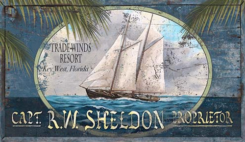 Trade Winds Sailing Custom Beach Art Sign