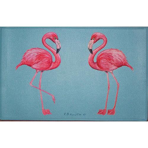 Two Flamingos Blue Floor Mat