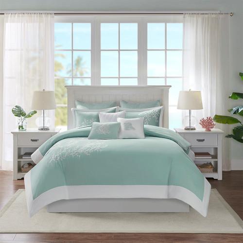 Aqua Blue Coastline Duvet Collection - King Size room view 2