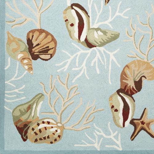 Light Blue Coral Reef Wool Hooked Rug corner close up