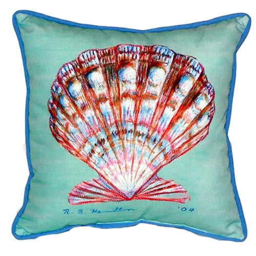 Teal Scallop Shell Pillow