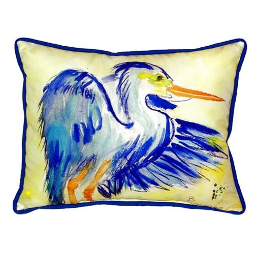 Watercolor Teal Blue Heron Pillow