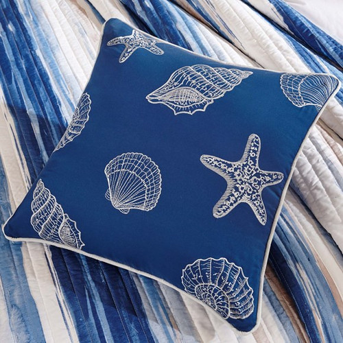 Marina Watercolor Striped Coverlet Set - Queen Size/decorative seashell pillow