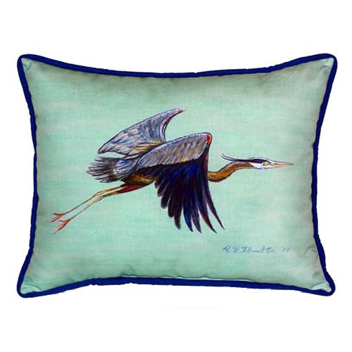 Teal Blue Heron Indoor-Outdoor Pillow