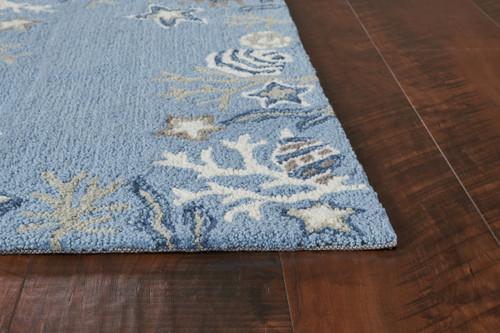 Sea Blue Coastal Hand-Hooked Rug corner image