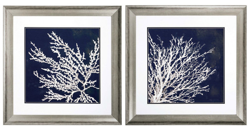 Deep Blue and Silver Coral Framed Prints