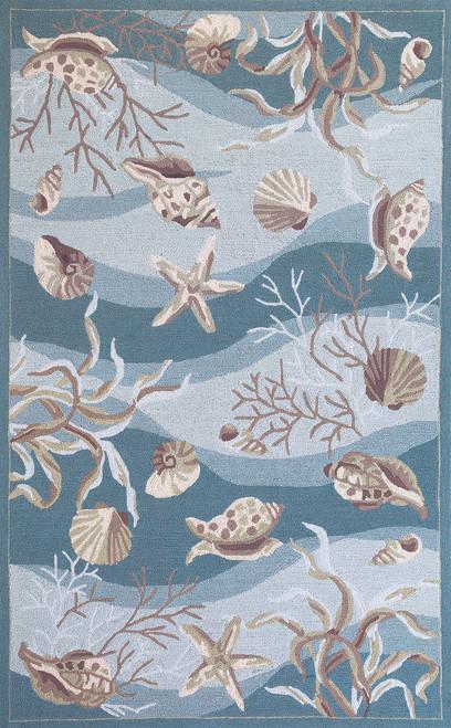 Seafoam Waves of Shells Rug