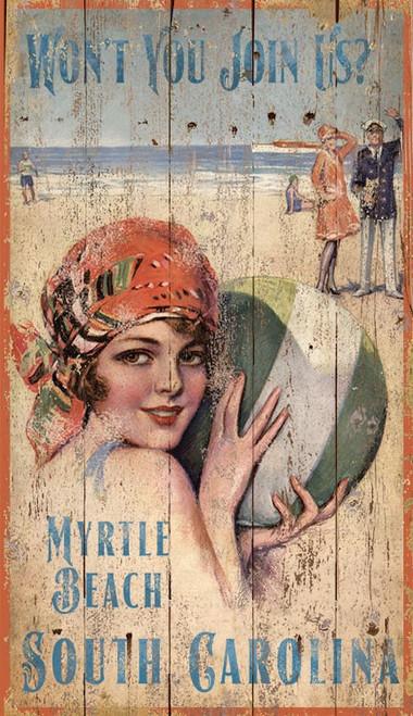 Vintage Beach Girl with Beach Ball Custom Art