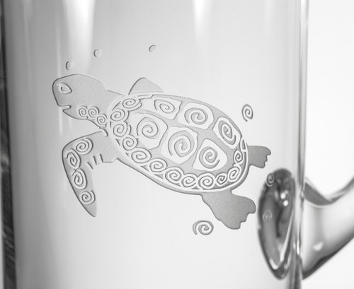 Sea Turtle Etched Glass Pitcher close up image