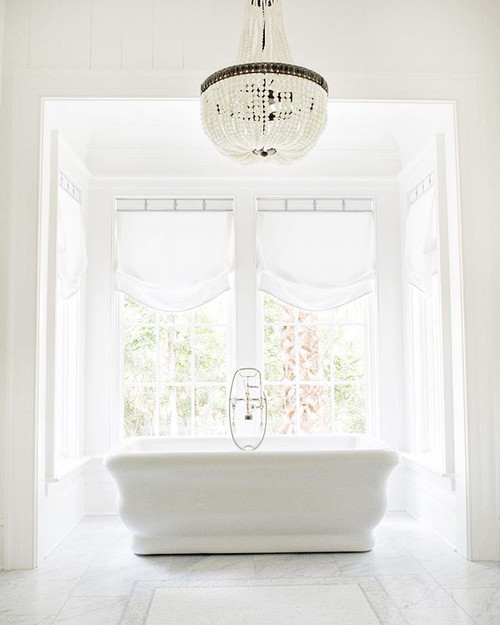 Chanteuse Beaded Frosted Chandelier bathroom view