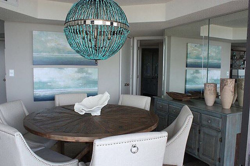 Turquoise Beaded Alberto Orb Chandelier room view 1